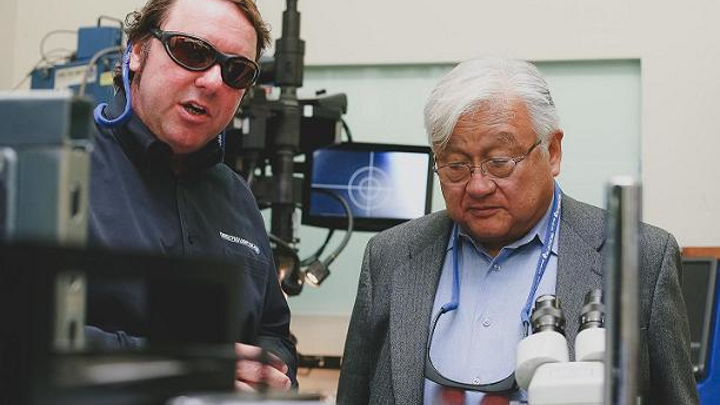 Congressional Representative Mike Honda (D-CA) toured Directed Light to see first-hand the impact of photonics in San Jose, the state, and the nation. Directed Light president Neil Ball (left) shows Rep. Honda (right) some laser instrumentation. (Image credit: Directed Light)
