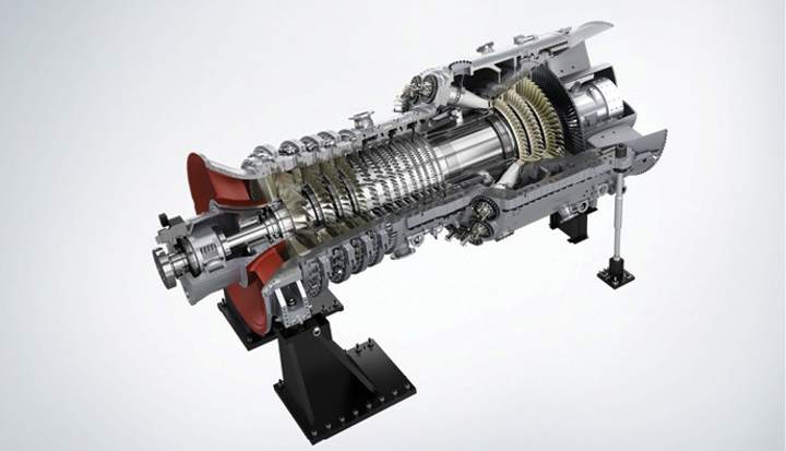 FIGURE 1. The SGT5-8000H gas turbine features Siemens' gas turbine design with AM parts for the burner nozzle and turbine vanes.