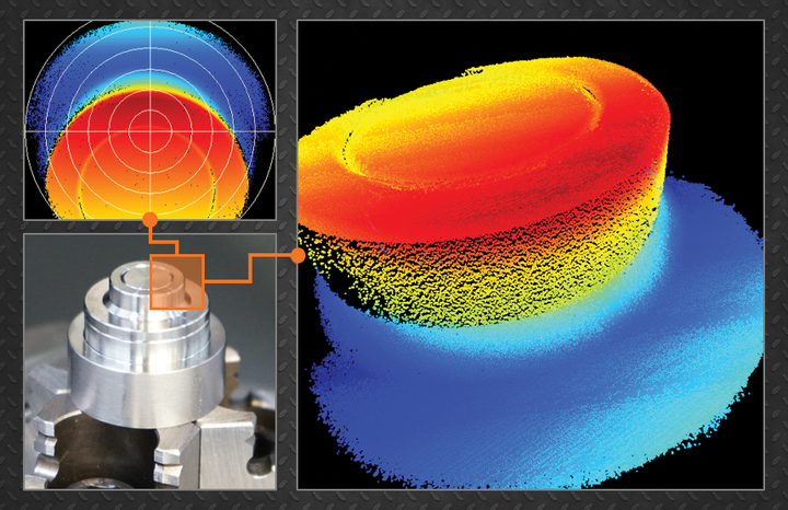 FIGURE 1. A 3D image of a stainless steel part, taken through the welding head using an LDD-700 inline weld monitoring system, is shown; 3D video enables exact, in-focus alignment of the welding beam to the part.