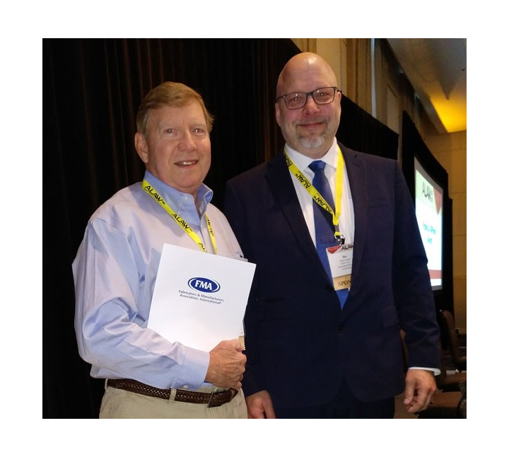 Stan Ream, 2019 Frank A. DiPietro Award recipient (left) and Jim Kenney, ALAW Conference Chair (right).