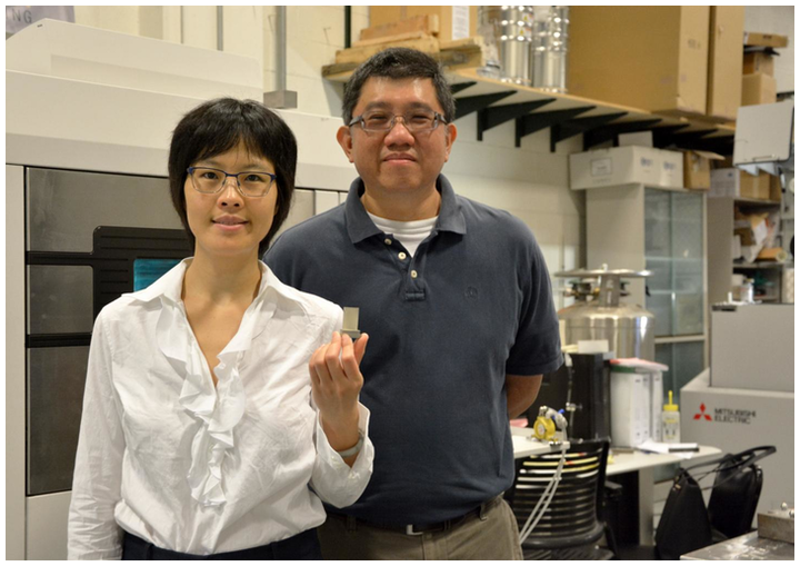 (L-R) Xiayun Zhao, Ph.D., assistant professor of mechanical engineering and materials science and Albert To, Ph.D., associate professor of mechanical engineering and materials science, hold up a 3D-printed turbine component in the lab.