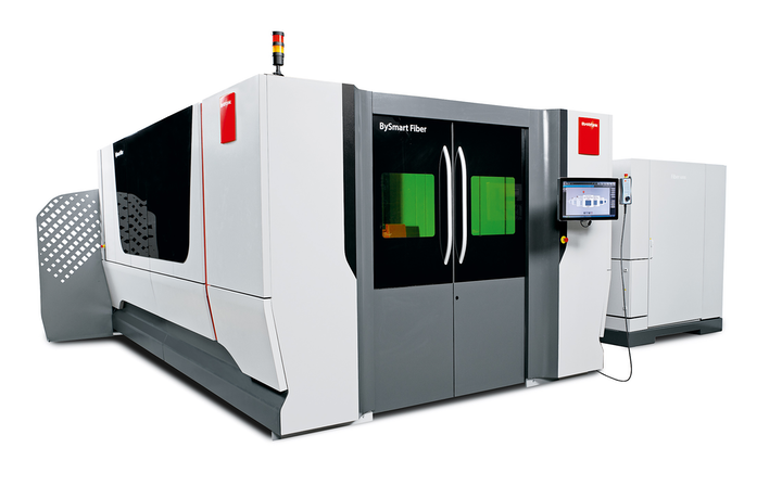 The BySmart Fiber flatbed fiber laser cutting machine from Bystronic.