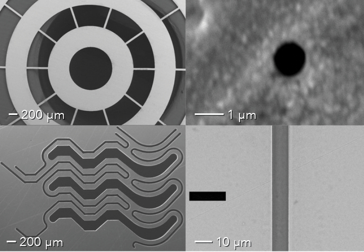 FIGURE 1. Micromachined examples from hundreds of microns to submicron-level features are shown.